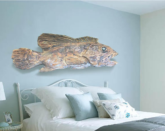 "Driftwood Beach Décor 21"" Fish 2d sculpture by SEASTYLE"
