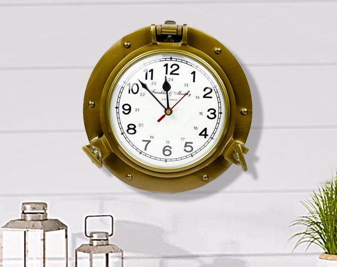 """Beach Wall Decor, Time's Clock 9"""" Antique Brass Nautical Decor Vintage by SEASTYLE"""