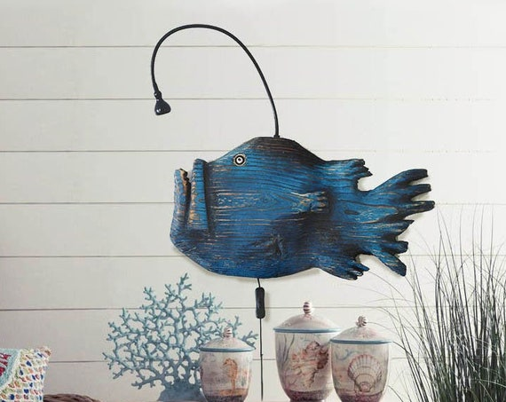 "Anglerfish Wall Light 21""x12""  Beach Décor 2d wood sculpture by SEASTYLE"