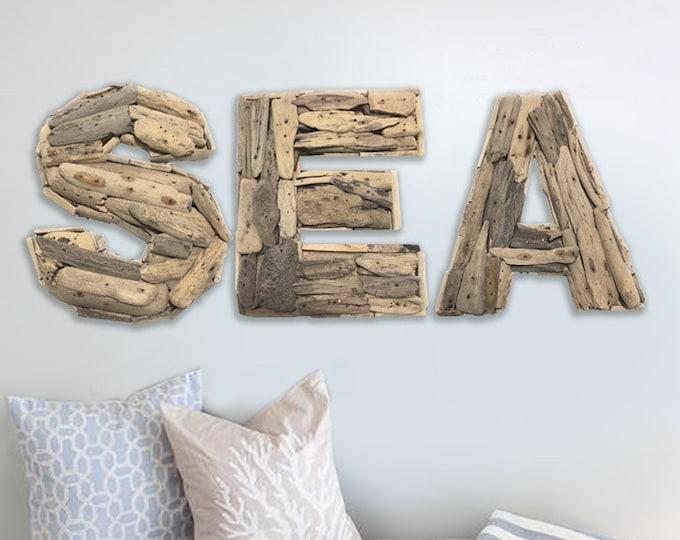"""Beach Décor SEA Sign 10 x 35"""" Driftwood by SEASTYLE"""