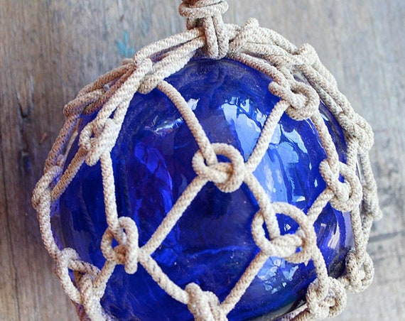 Beach Decor Fishing Float in Rope Netting Cobalt Blue by SEASTYLE