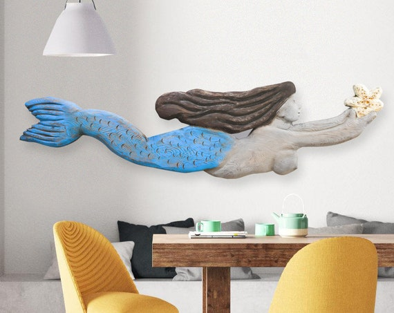 "Mermaid Driftwood 60x14x2"" XL Wood Sculpture Beach Décor by SEASTYLE"