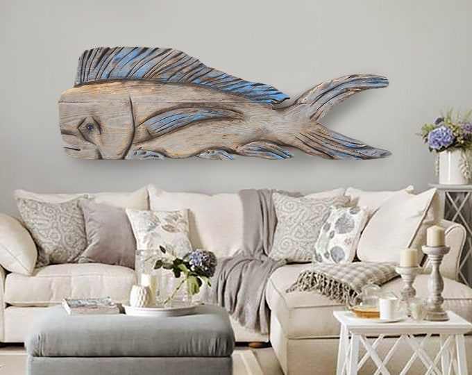 "Driftwood Beach Décor 45"" Dolphinfish 2d sculpture by SEASTYLE"
