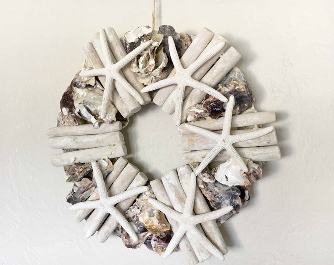 "Coastal Decor 12"" Wreath White Starfish Shells Driftwood Beach Décor by SEASTYLE"