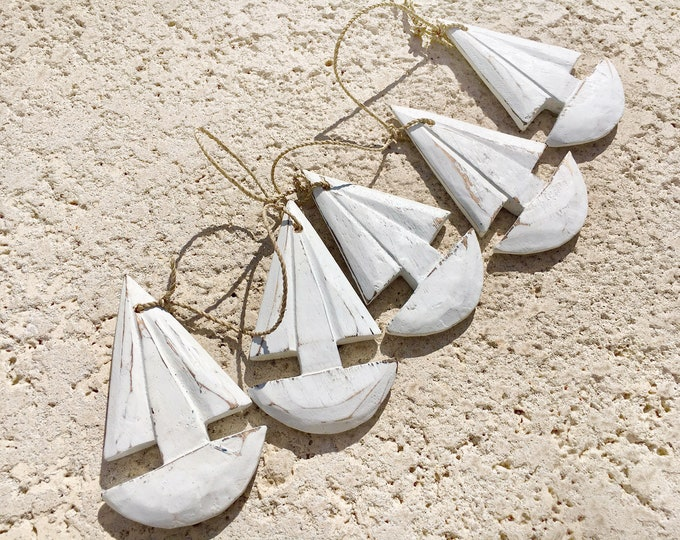 Beach Decor, White washed wood Sailboat Garland Vintage Style,  by SEASTYLE