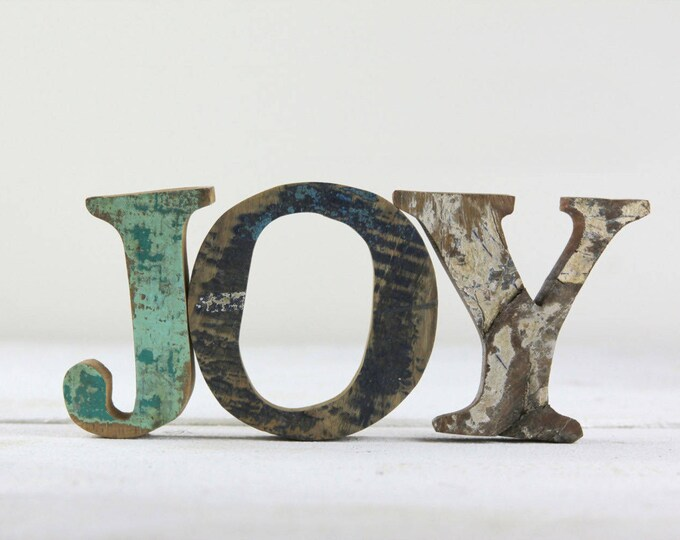 JOY Sign, FREE SHIP, Nautical Wooden by Seastyle, Beach Decor, Vintage, Gift for Her, Holiday