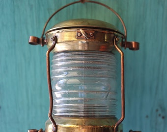 SALE Brass Lantern, Beach Decor, Nautical, Vintage, Restored by SEASTYLE