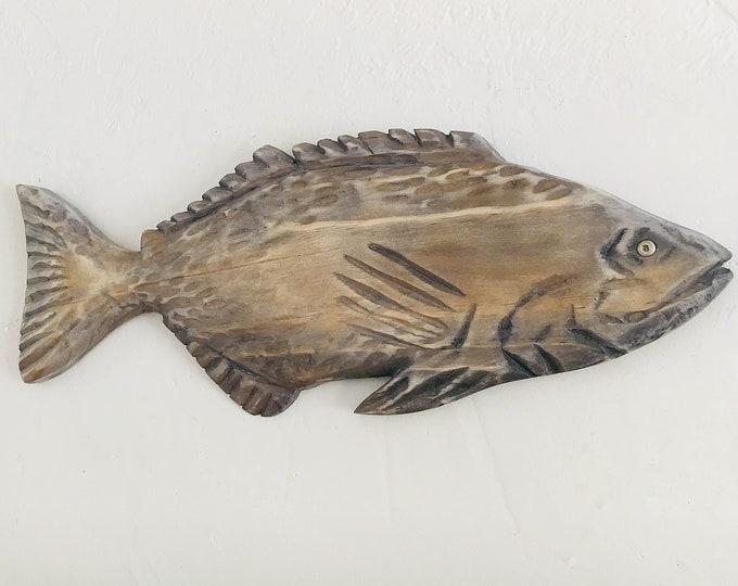 "Mouth Bass 21"" Driftwood Fish 2d sculpture Beach Décor by SEASTYLE"
