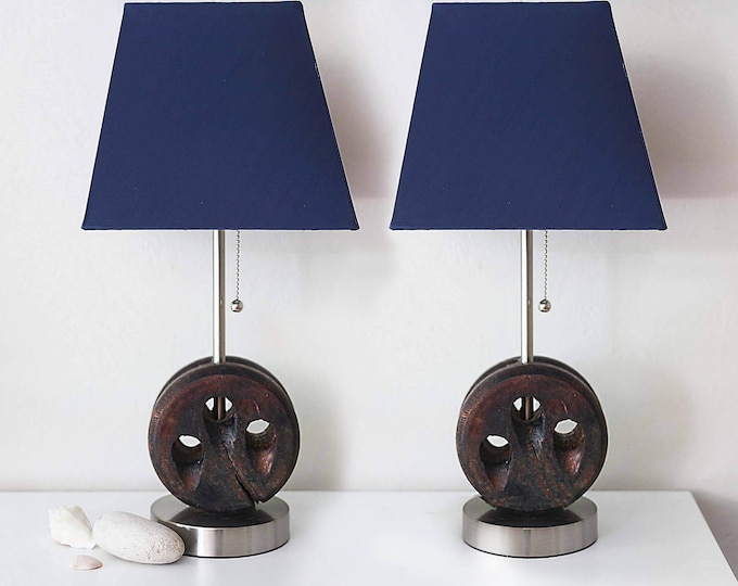 Nautical Accent Lamp Pair 2 pcs Dark Blue Wood Beach Decor by SEASTYLE