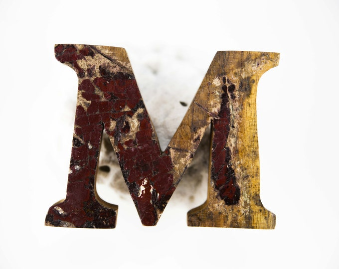 """Beach Decor Wooden LETTER """"M"""" Vintage Style Nautical by SEASTYLE"""