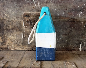 "Beach Decor, 12,5"" Old-style lobster float buoy, Blue, White, Navy blue, Nautical by SEASTYLE"