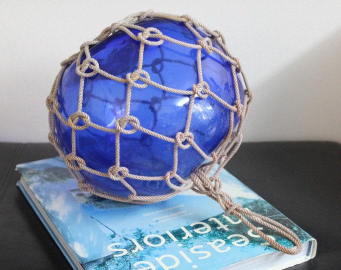 Beach Decor Big Vintage Japanese Glass Fishing Float Cobalt Blue by SEASTYLE