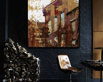Old Philadelphia Oil Painting Wall Art Modern Contemporary Red Brown Black White by Bo Kravchenko