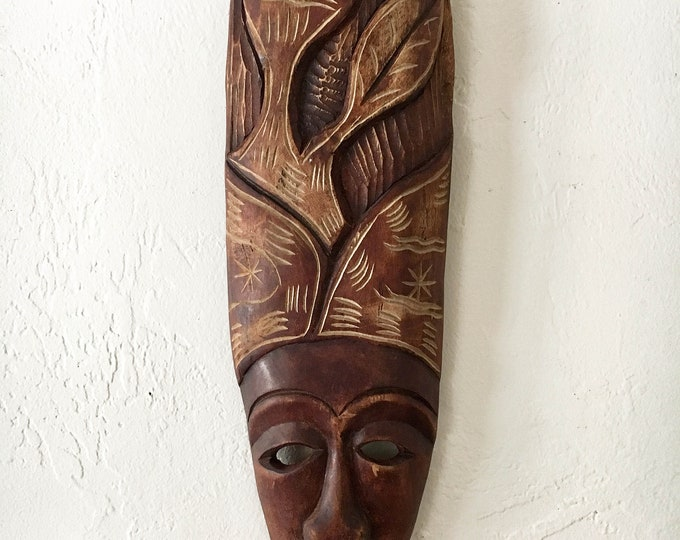 """Vintage Wooden Carved African Mask 12"""" Beach Decor  by SEASTYLE"""