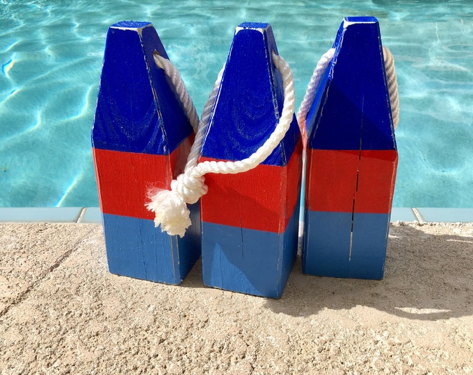 """Lobster Float Buoy, 11"""" Dark Blue Red Blue, Vintage Style, Nautical, Beach Decor,  by SEASTYLE"""