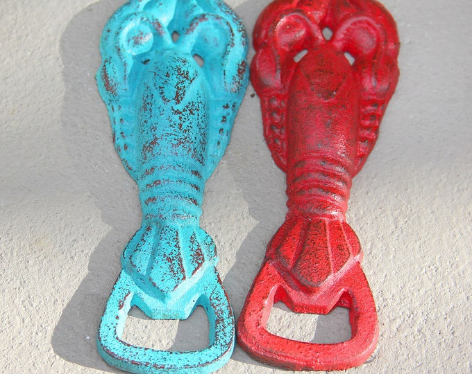 Lobster Bottle Opener Distressed Cast Iron by SEASTYLE