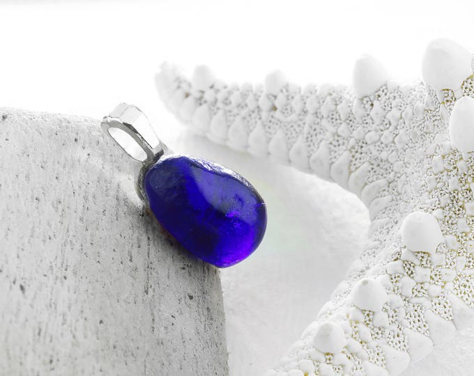 Boho Jewelry Sea Glass Pendant Cobalt Blue Gift by VERO for SeaStyle