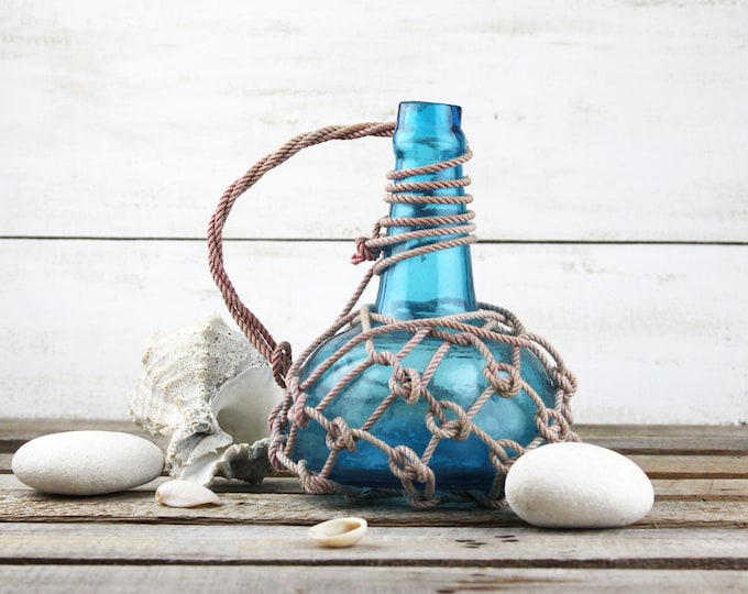 Beach Decor Blue Glass Pirates Rum Jug in Rope Netting by SEASTYLE