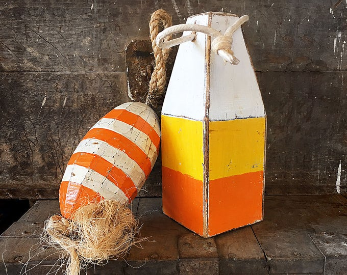 Coastal Decor Set Orange Yellow White Lobster Buoy Nautical Wooden by SEASTYLE