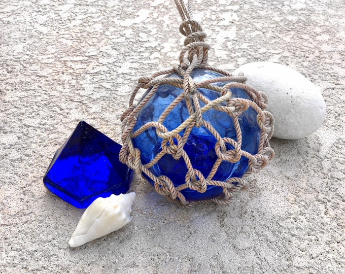 Beach Decor Set: Cobalt Blue Glass Deck Prism and Glass Fishing Float in Rope by SEASTYLE