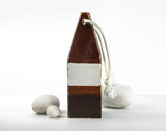 """Coastal Decor, 11"""" Lobster Buoy Brown White, Nautical Wooden by SEASTYLE"""