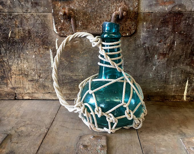Beach Decor Ocean Waves 2 Glass Pirates Rum Jug in Rope Netting by SEASTYLE