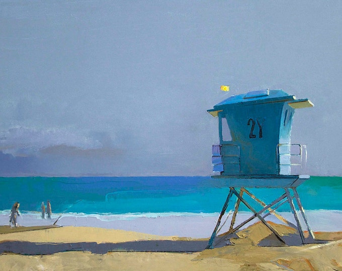 """Sale 20% off Oil Painting, 24x36"""", Lifeguard Tower at the Beach, Beach Decor  by B. Kravchenko for SEASTYLE FREE U.S. SHIPPING"""
