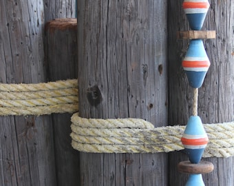 Beach Decor, Vintage, Blue, White and Red,  Lobster Buoy Nautical Wooden by SEASTYLE
