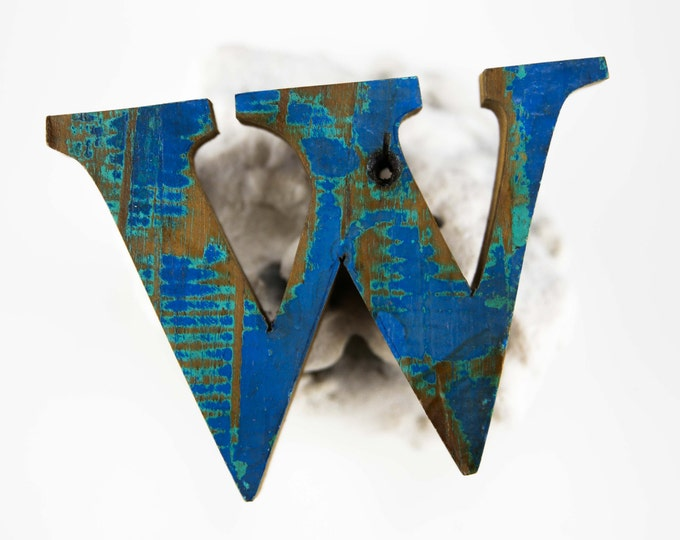 """Beach Decor Wooden LETTER """"W"""" Vintage Style Nautical by SEASTYLE"""