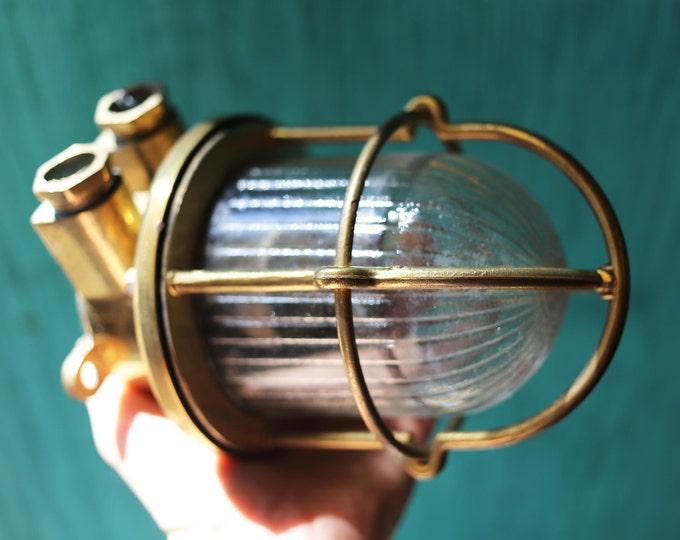 Brass Lantern Glass, Nautical, Beach Decor, Vintage Restored by SEASTYLE