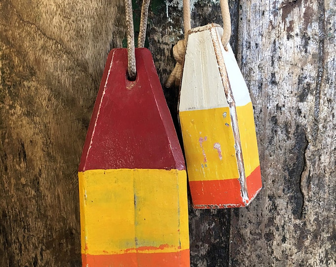 Coastal Decor Set Yellow Orange Red Lobster Buoy Nautical Wooden by SEASTYLE