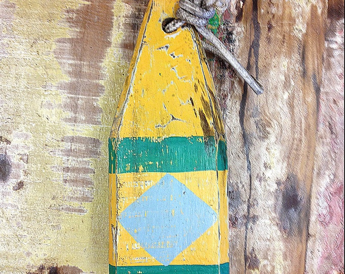 """Beach Decor 11"""" Vintage Style Green YellowBlue  Lobster Buoy Nautical Wooden by SEASTYLE"""
