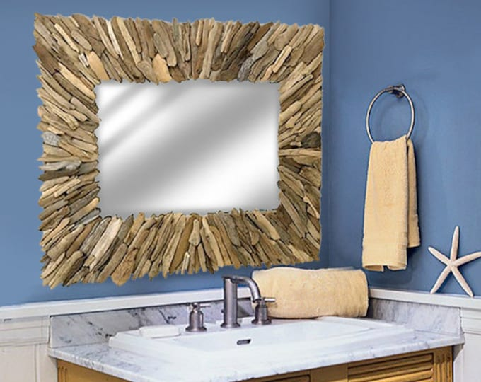 "Driftwood Mirror 36x40"" Handmade  Beach Decor Rustic by SEASTYLE"