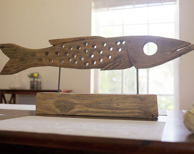 """Fish on Stand Statue 33"""" Driftwood Beach Décor by SEASTYLE"""
