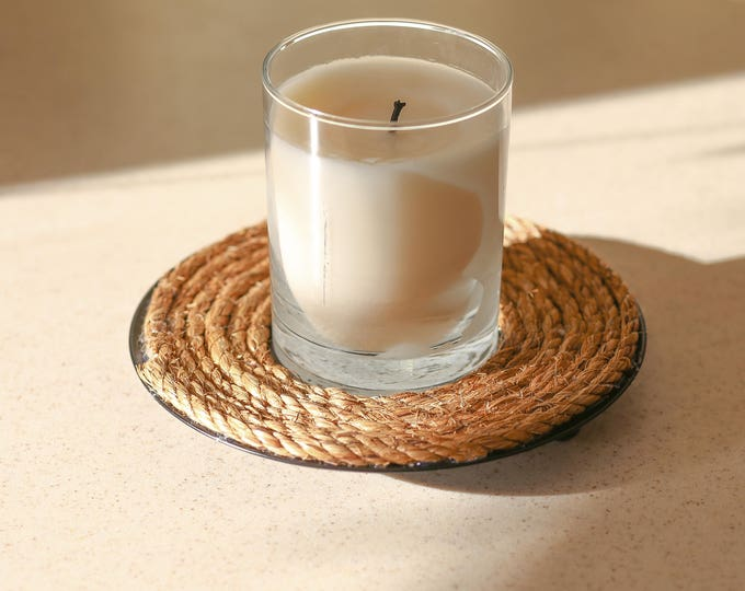 SALE 30% Off Coastal Candle Tray Manila Rope by SEASTYLE