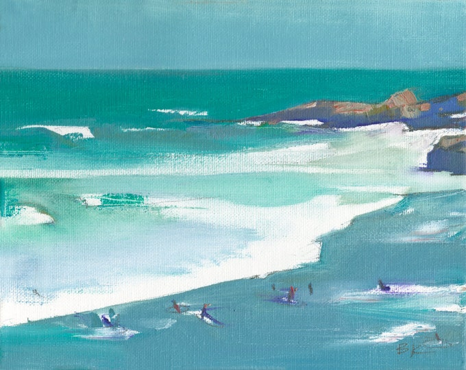"""Beach Decor """"Surfers"""" Oil Painting by B. Kravchenko for SEASTYLE"""