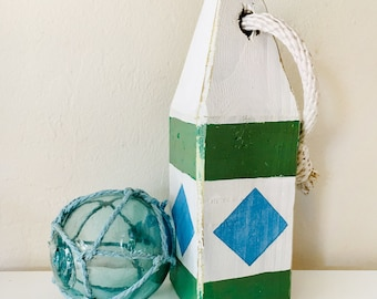Beach Decor Set Green Blue wood Buoy and Antique Japanese Glass Fishing Float in Rope by SEASTYLE