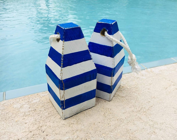 White Blue Strape Lobster Buoy Beach Decor  Vintage Style Nautical by SEASTYLE