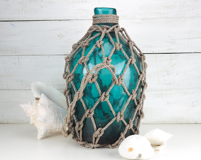 Beach Decor, TEAL Big Glass Pirates Rum Jug in Rope Netting by SEASTYLE