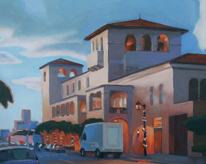 """Sale 35% off Oil Painting """"Evening on Worth Avenue"""" 2010, by B. Kravchenko FREE SHIP"""