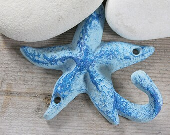 Beach Decor Cast Iron Star Ocean Blue Distressed by SEASTYLE