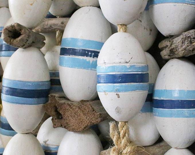 Beach Decor Vintage White, Blue, Lobster Buoy Nautical Wooden by SEASTYLE