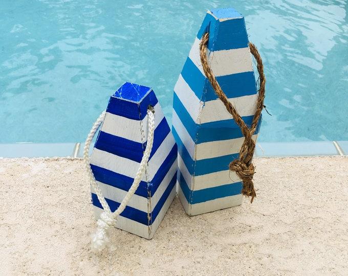 Set Strip Blue White Lobster Buoys Coastal Decor Nautical by SEASTYLE