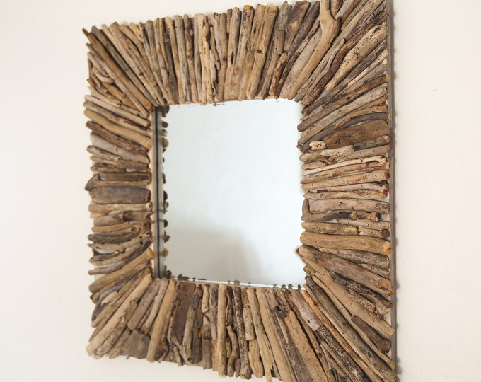 Beach Decor, Driftwood Handmade Mirror 32x32inch Rustic by SEASTYLE