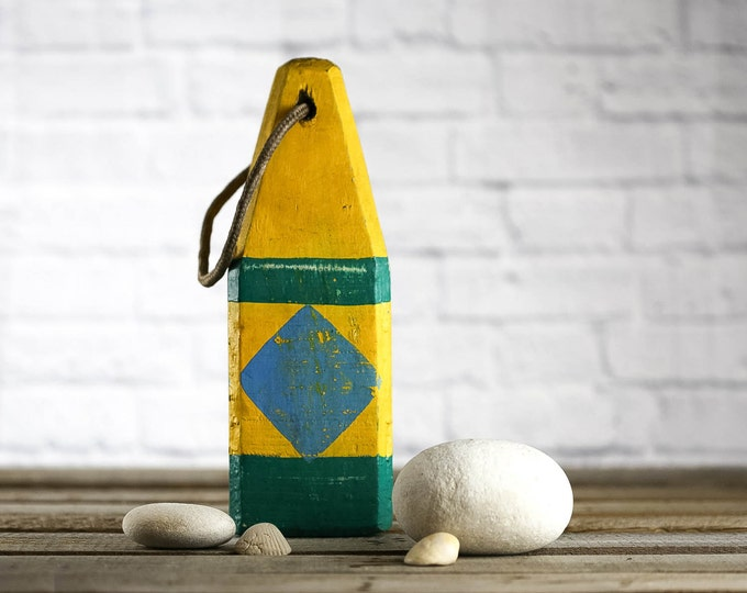 Beach Decor, Yellow, Green, Blue  Lobster Buoy, Vintage Style, Nautical, by SEASTYLE
