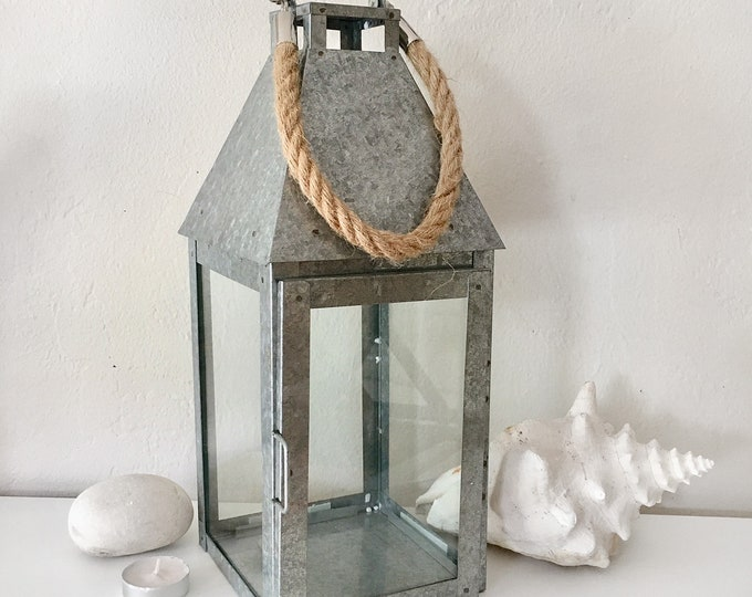 "Lantern Candle Holder with Rope 8"", Beach Decor, Nautical, by SEASTYLE"