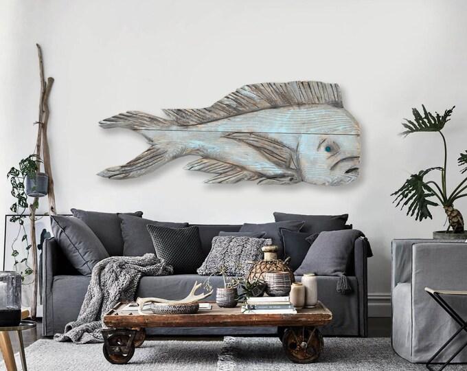 "Driftwood Beach Décor 38"" Dolphinfish 2d sculpture SEASTYLE"