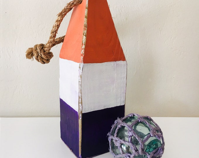 Beach Decor Set Orange Purple wood Buoy and Antique Japanese Glass Fishing Float in Rope by SEASTYLE