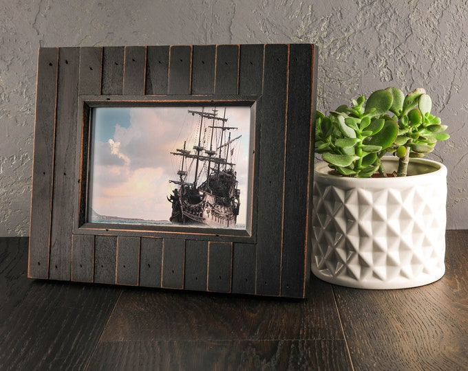 Wood Picture Frame Brown Black Sea Nautical Style Beach Decor, by SEASTYLE