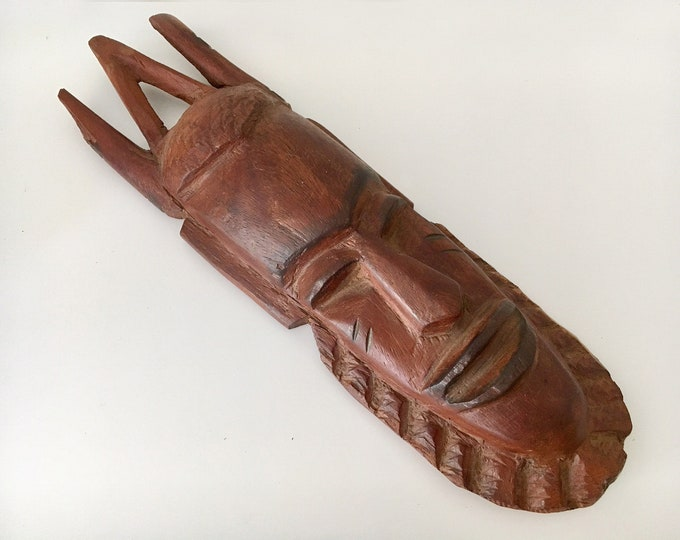 "Vintage Wooden Carved African Mask 12"" Beach Decor  by SEASTYLE"